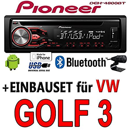 VW Golf 3 III - Pioneer DEH-4800BT - CD/MP3/USB Bluetooth Autoradio - Einbauset
