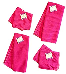 """Set of 6 Microfiber Kitchen Towels (25"""" x 15"""") and Dishcloths (12"""" x 12"""") Vibrant Colors 100% Polyester"""