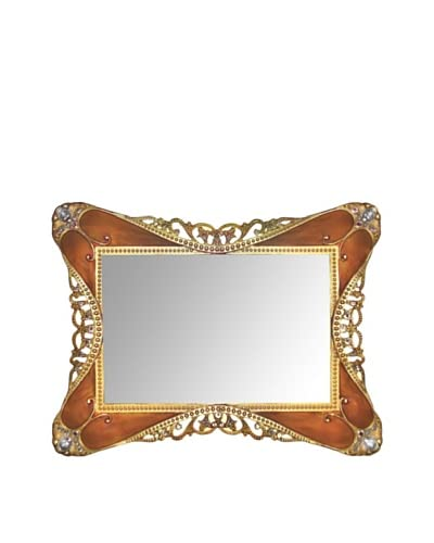 Ashleigh Manor Hand-Painted Rococo Tortoise Enameled Mirror Tray