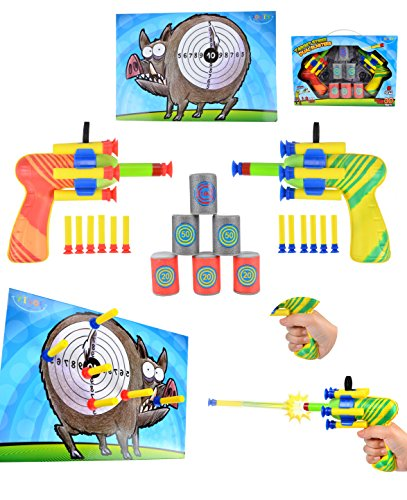 Joyin Toy Dual Battle Blasters Precision Target Set with Hunter Barrels Bullet Target and Dartboard (Target Practice Kids compare prices)