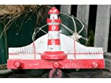 """LIGHTHOUSE"" HANGER - 12"" WHITE & RED NAUTICAL DECOR"