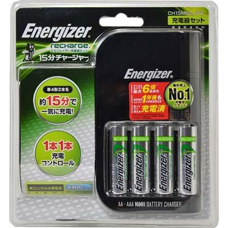 Energizer エナジャイザー 充電器セット(単3形×4本付) 15分チャージャーセット CH15MN2-JPA