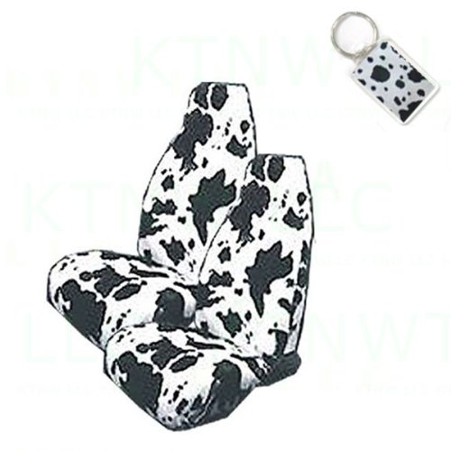 A Set of 2 Universal Fit Animal Print High Back Bucket Seat Covers and 1 Key Fob - COW