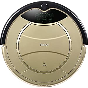 Haier® SWR-T321 Household Robot Vacuum Cleaner Self Charging Wet Mop Floor Cleaning Robot with Remote Control (Golden)