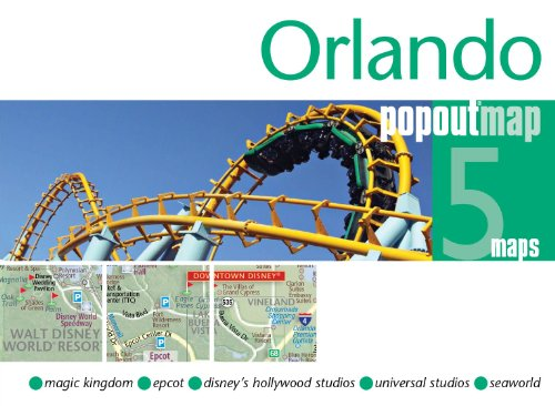 Orlando PopOut Map - pop-up city street map of Orlando - folded pocket size travel map covering downtown Orlando and all the parks