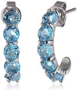 """Sterling Silver Round Swiss Blue Topaz """"J"""" Hoop Earrings"""