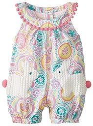 Mud Pie Baby Girls\' Bunny Pocket Romper, Multi, 9 12 Months