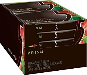 Wrigley's 5 Prism Sugar Free Gum, Watermelon,  15 Piece, 10 Count