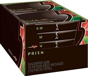 Wrigley's 5 Prism Sugar Free Gum, Watermelon, 10-Count