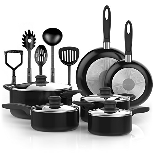 Vremi 15 Piece Nonstick Cookware Set with Cooking Utensils - inc. Saucepans and Dutch Oven Pots with Glass Lids and Fry Pans for Saute - also has Spatula Slotted Spaghetti Spoons Masher and Soup Ladle (Under Cabinet Toaster Oven Mount compare prices)