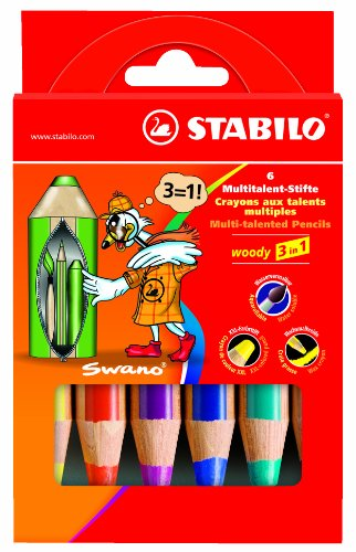 STABILO woody 3 in 1 6er Etui - Multitalent-Stifte