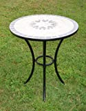Indoor/Outdoor Patio Backyard Metal Bistro Table Furniture with Mosaic Design on Top