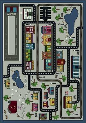 "Joy Carpets Kid Essentials Active Play & Juvenile Tiny Town Rug, Pewter, 5'4"" x 7'8"""