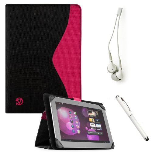 Soho Padfolio Smart Stand Alone Cover Case Durable Premium Design For Toshiba Excite 10 Se (At305Se, At305T) / Pro (At15Le) / Pure (At15) / Write (At15Pe) Touch Screen Tablet Mobile Computer + Crystal Clear High Quality Hd Noise Filter Ear Buds ( 3.5Mm Ja