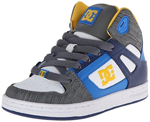 Dc Rebound High Top Sneaker (Little Kid/Big Kid),White/Blue,12.5 M Us Little Kid