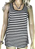 Ladies Silk Mix Black and White Striped Vest Top for women