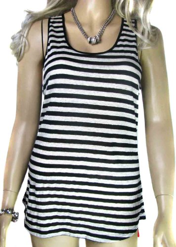 Ladies Silk Mix Black and White Striped Vest Top in Womens Size 12 14 and 16 (16)