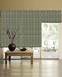 PRESTO BAZAAR 1 Piece Polyester & Cotton Floral Blind - Green