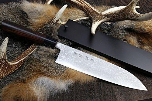 Yoshihiro Aoko(blue Steel) Suminagashi Damascus Wa Gyuto Japanese Sushi Chef Knife 8.25 Inch (210mm) with Nuri Saya Cover