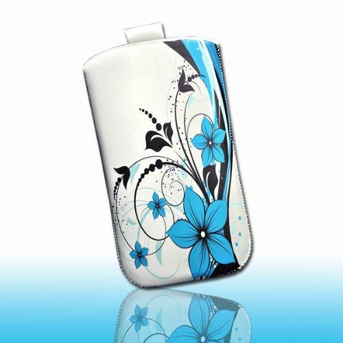 Handy Tasche Hülle Etui weiß Blumen blau M39 Gr.3 für Samsung C3312 Rex60 / S5222R Rex80 / Galaxy Young S6310 / Galaxy Young Duos S6312 / Galaxy Pocket Plus S5301 / Samsung Galaxy Pocket Neo S5310 / Alcatel OT 903D / Alcatel OT Star 6010D