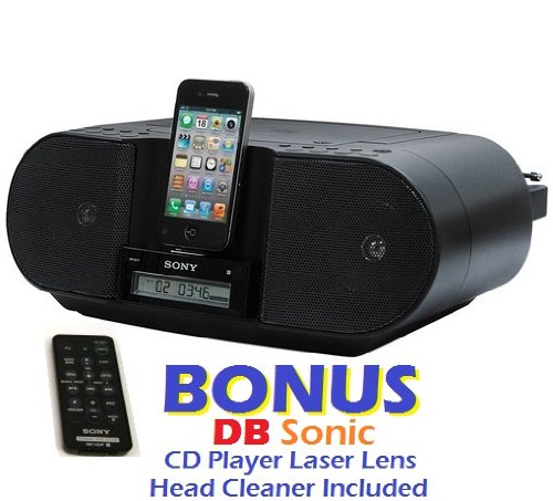 Sony iPod & iPhone Docking Station CD Player and Digital AM FM Radio Stereo Speaker System with 30 Station Presets, Wireless Remote Control, Flexible Dock Connector, Sleep Timer, Portable Battery Option & Auxiliary Input to Connect Tape Cassette or MP3 Digital Music Players *BONUS* DBsonic CD Player Lens Cleaner Included