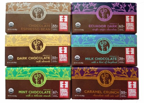 Equal Exchange Organic Chocolate Bar Collection (6 - 3.5 Oz Bars)