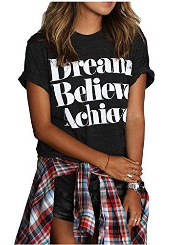 Summer Fashion Cute Donna Stampato maniche Tops Casual T Shirt Black XX-Large