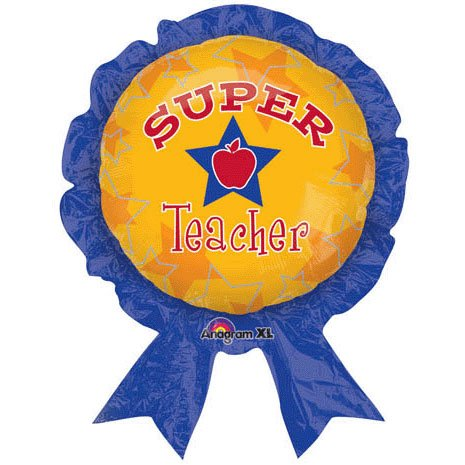 "30"" Super Teacher Balloon Award Ribbon - 1"