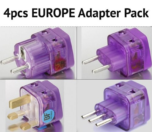 NEW! 4 Pieces HIGH QUALITY EUROPE TRAVEL ADAPTER Pack for ALL countries in EUROPE; FRANCE SPAIN ITALY GERMANY TURKEY UNITED KINGDOM ENGLAND IRELAND SCOTLAND GREECE AUSTRIA RUSSIA UKRAINE PORTUGAL CROATIA NETHERLANDS SWEDEN NORWAY FINLAND ICELAND and more / WITH DUAL PLUG-IN PORTS AND BUILT-IN SURGE PROTECTORS
