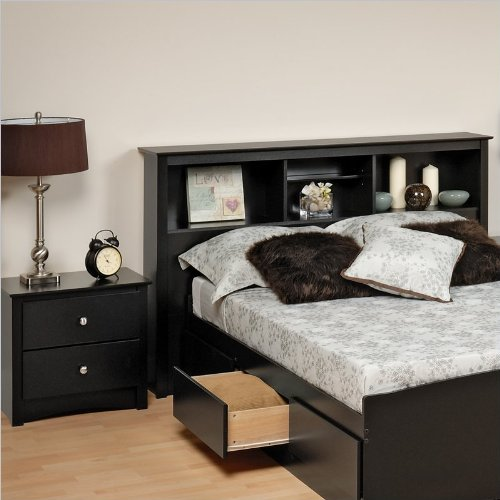 Prepac Sonoma Black Full , Queen Wood Bookcase Headboard 2 Piece Bedroom Set