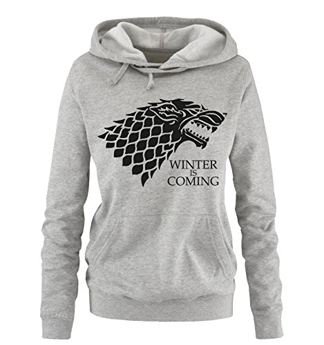 Comedy Shirts - Winter is Coming - Deluxe - Donna Hoodie cappuccio sweater - grigio / nero taglia M