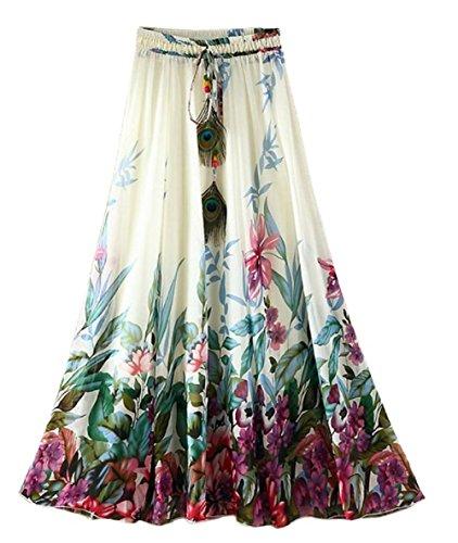 Qissy®Donne Boemia loto fiore piuma di pavone spiaggia elastico in