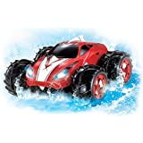 Amphibious Remote Control Car - Drives On Land And Water Up To 200 Ft, 360 Degree Spins, LED Headlights. Red Car
