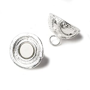18.5mm Sterling Silver Plated Magnetic Clasp Ball Milgrain Swirl Design 1 Piece (Tamaño: 18.5mm diameter)