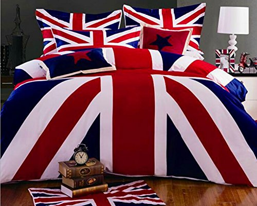 4pc Reactive Printed 3d Bed Set 3d Bedding Set Linen Cotton Queen Size (The British flag) (British Bedding Queen compare prices)