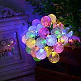 "Solar Christmas Lights - 30 LED - Best Solar Powered Outdoor String Lights for Christmas Trees & Stocking Stuffers - 1"" Globe/Bubble Bulbs w/ Waterproof Solar Panel for Outside (Multi Color)"