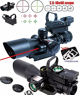 X-Aegis New Style 2.5-10x40 Rifle Scope with Integrated gun sight lasers Dual Illuminated Mil-dot , Rail Mount and 4 Reticle Red and Green Dot Open Reflex Sight by X-Aegis