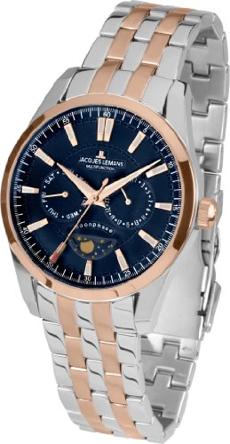Jacques Lemans Liverpool Moonphase 1-1804H 44mm Ion Plated Stainless Steel Case Two Tone Stainless Steel Mineral Men's Watch