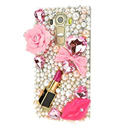 LG V10 Case, Sense-TE Luxurious Crystal 3D Handmade Sparkle Diamond Rhinestone Clear Cover with Retro Bowknot Anti Dust Plug - Big Rose Flowers Sexy Lips Lipstick / Pink