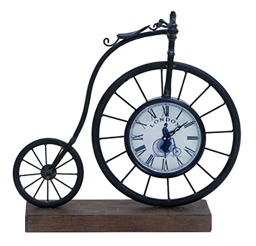 Deco 79 Metal Wood Bike Clock, 14 by 14-Inch