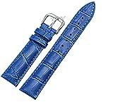 【TON CHARME】トンチャーメー 腕時計用ベルト 本革 おしゃれ 耐水性 スポーツ 柔らか ピンク・ブルー・ホワイト (22mm ブルー)