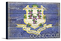 Connecticut State Flag - Barnwood Painting (36x24 Gallery Wrapped Stretched Canvas)