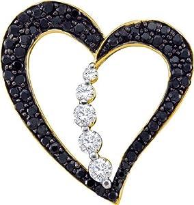 10k Yellow Gold 0.51CT Round Black & White Diamond Heart Pendant