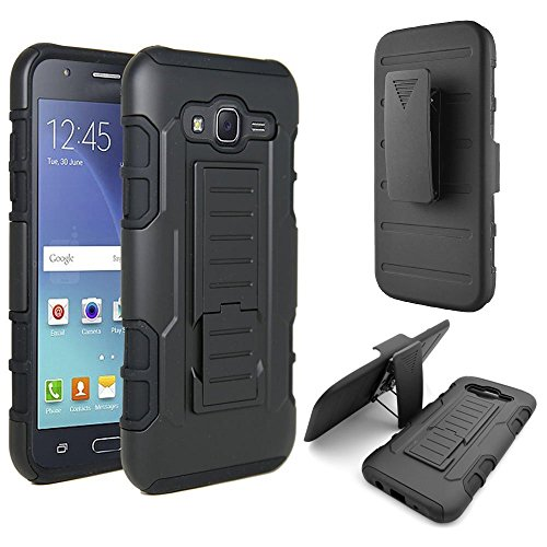 Samsung Galaxy J7 Case, Ziaon(TM) Heavy Duty Robot Case Black Rugged Impact Armor Hybrid Kickstand Cover with Belt Clip Holster Case for Samsung Galaxy J7