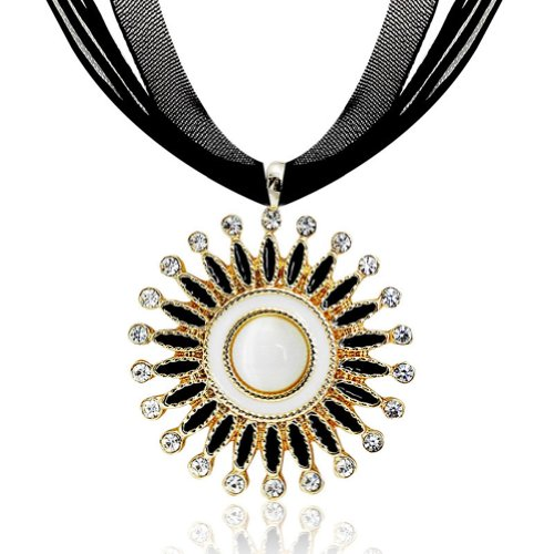 Chaomingzhen Charm Ferris Wheel Pendant Choker Necklace Fashion Jewerly for Women Purple Wax Rope Chain , Rhinestones