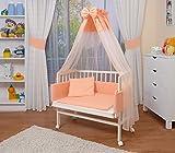WALDIN Cuna colecho para bebé con equipamiento completo, lacado en blanco, 6 colores a elegir,salmón/rosa