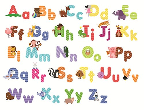 Animal Alphabet Wall Decals - Fun and Educational Letters for Nursery and Kids Rooms - Easy Peel Stickers (Farm Window Decal compare prices)