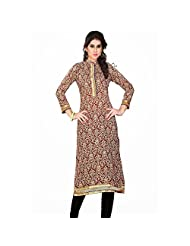 Beige And Blue Cotton Printed Kurti