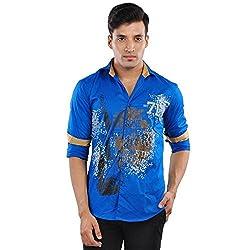 CREEDS Men's Light Blue Cotton Casual Shirt(Large)