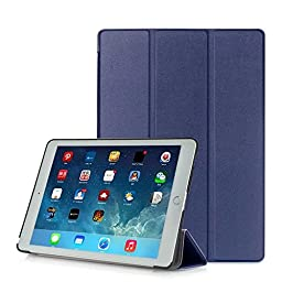 iPad Pro Case 9.7-inch 2016, BONUSIS Ultra Slim Lightweight PU Leather Flip Smart Cove [with Auto Sleep/Wake Feature Function] for 9.7 Inch Apple iPad Pro (iPad 7th Gen) 2016 Release [Navy Blue]